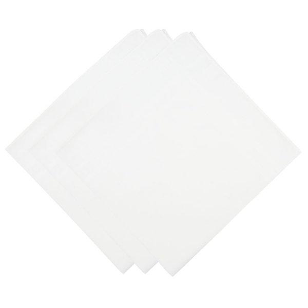 3x Plain Cotton Handkerchief Set - White