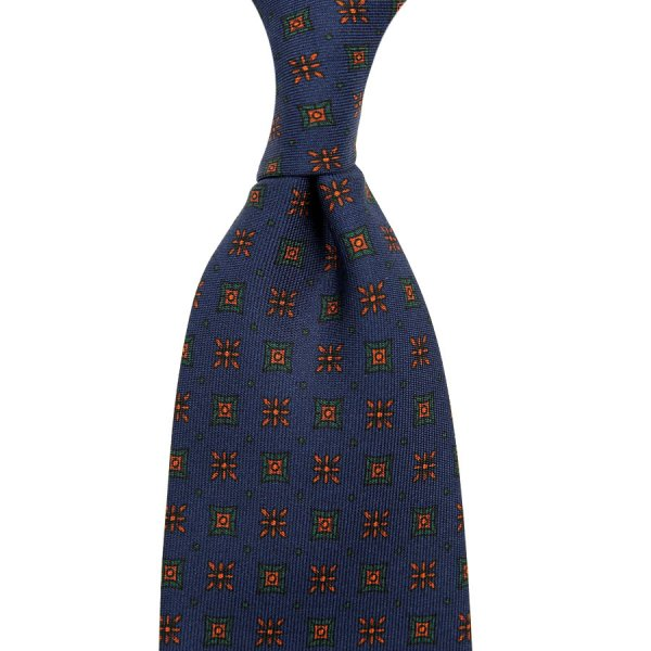 Ancient Madder Silk Tie - Navy XIII - Hand-Rolled