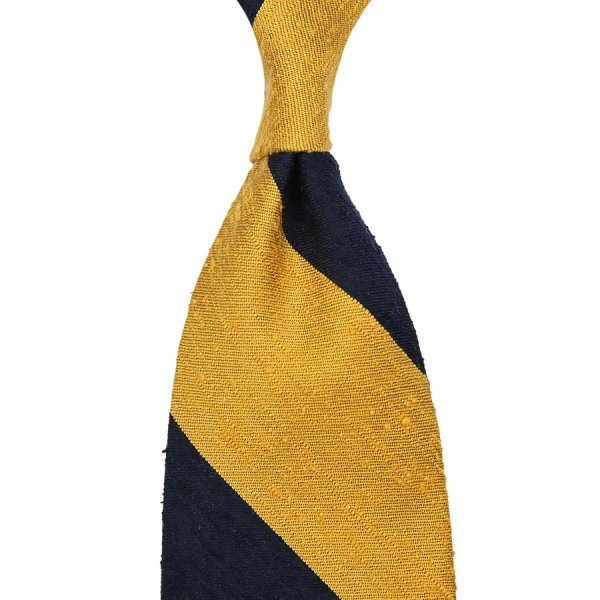 Block Stripe Shantung Silk Tie - Navy / Yellow - Hand-Rolled