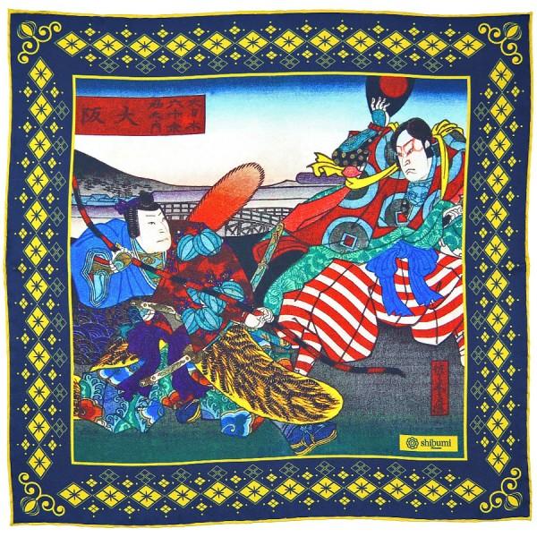 Ukiyo-e Silk Pocket Square - Osaka - Handrolled - 40 x 40cm
