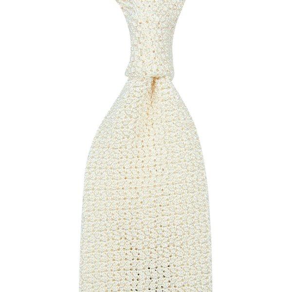 Crunchy Silk Knit Tie - White