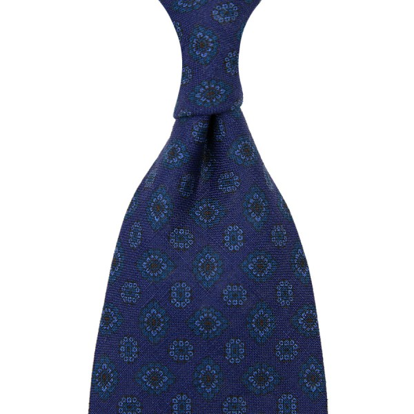 Floral Printed Madder Linen Tie - Navy - Hand-Rolled