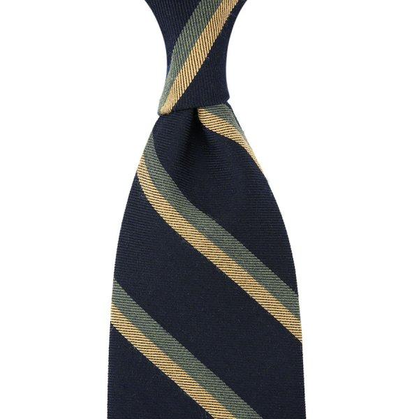 Mogador Striped Silk / Cotton Tie - Navy / Green / Beige