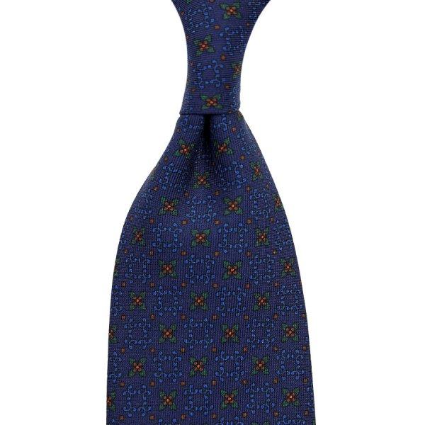 Ancient Madder Silk Tie - Navy XII - Hand-Rolled