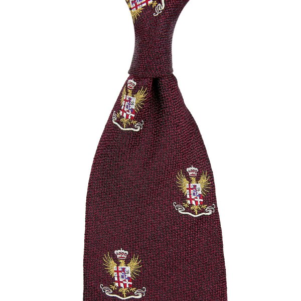 7-Fold Crest Boucle Silk Tie - Burgundy - Hand-Rolled