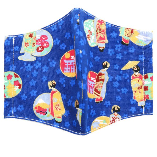 Kimono Pattern Washable Cotton Mask - Blue III