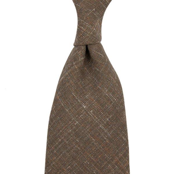 Mottled Plain Wool / Linen Tie - Beige - Hand-Rolled