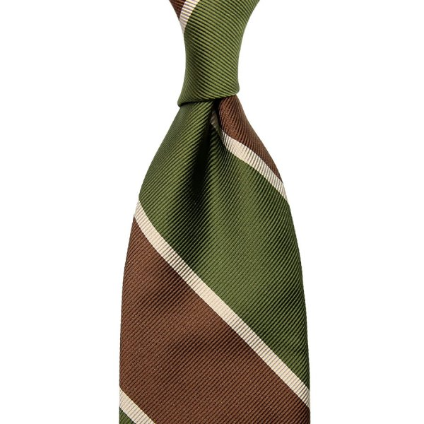 Super Repp Block Stripe Silk Tie - Olive / Brown - Hand-Rolled