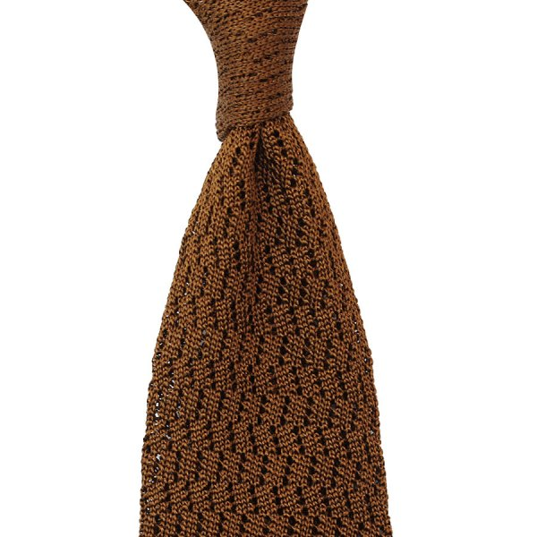 Zig Zag Silk Knit Tie - Copper