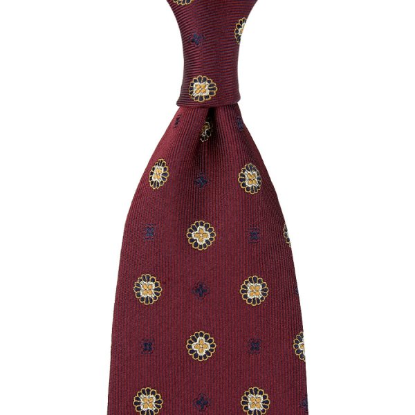Floral Jacquard Silk Tie - Burgundy - Hand-Rolled