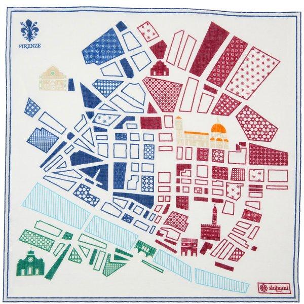 Firenze Map Cotton Blend Pocket Square - White - 40 x 40cm