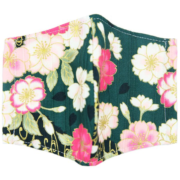 Kimono Motif Washable Cotton Mask - Forest