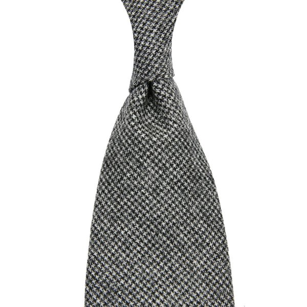 Vintage Fox Brothers Houndstooth Wool Tie - Grey