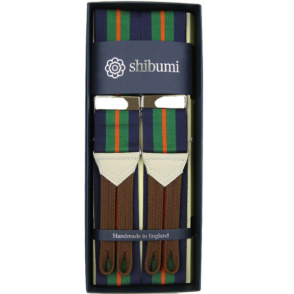 Barathea Braces - Navy / Green / Orange