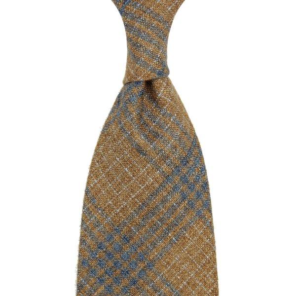 Checked Cashmere / Silk Tie - Beige / Blue - Hand-Rolled
