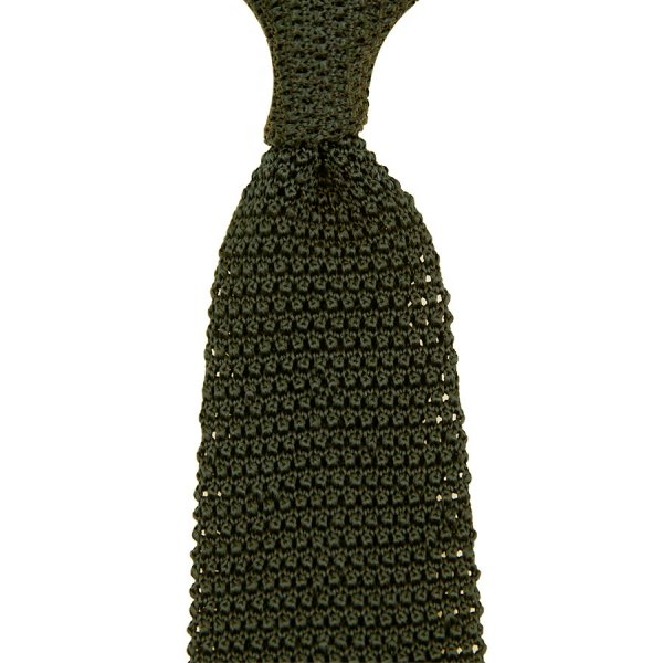 V-Point Knit Tie - Olive - Silk