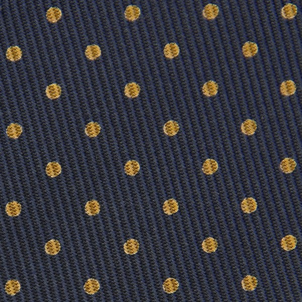 50oz Dotted Printed Bespoke Silk Tie - Navy / Gold