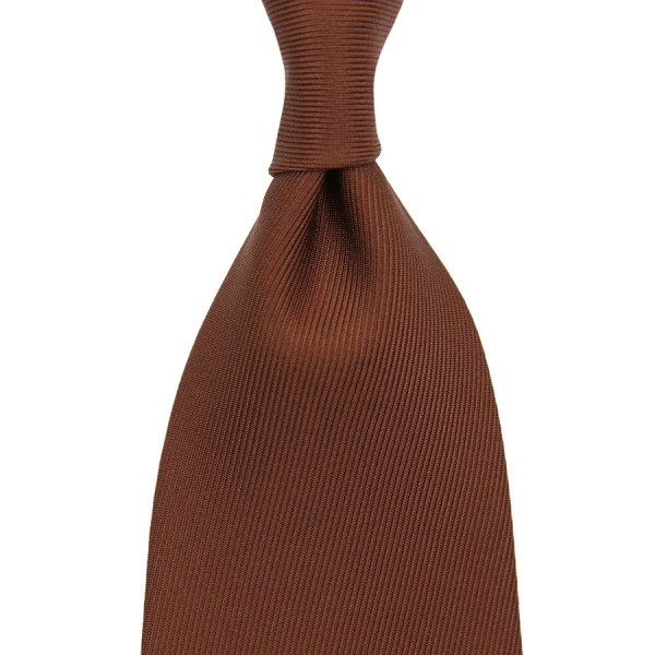50 oz Plain Dyed Silk Tie - Hazelnut - Hand-Rolled