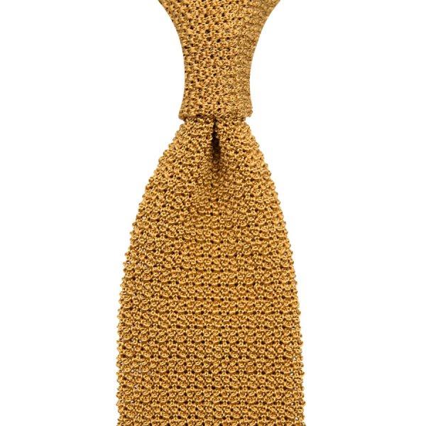Crunchy Silk Knit Tie - Mustard