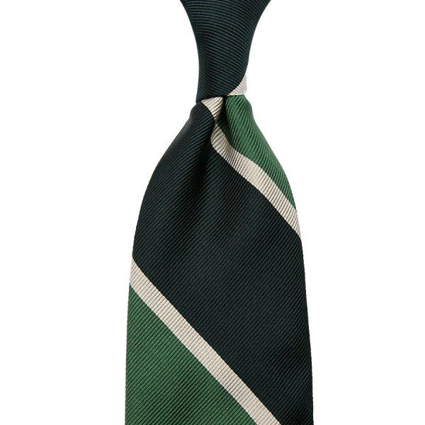 Super Repp Block Stripe Silk Tie - Forest / Green - Hand- Rolled