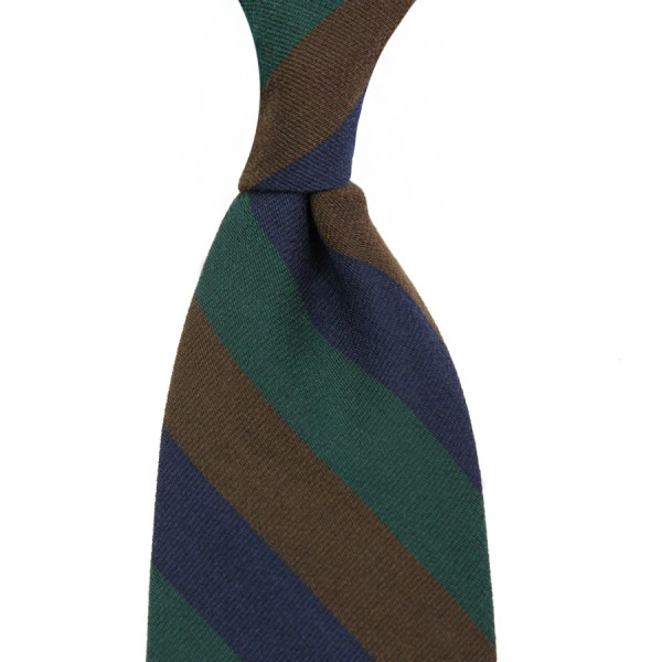 Triple Block Stripe Wool Tie - Navy / Green / Brown