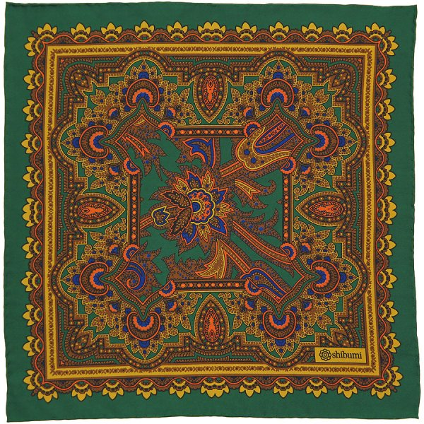 Paisley Printed Silk Pocket Square - Green - Handrolled