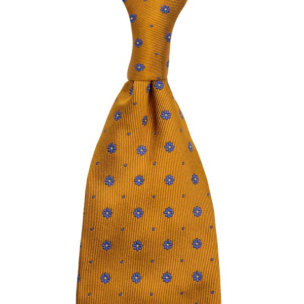 Floral Jacquard Silk Tie - Honey - Hand-Rolled