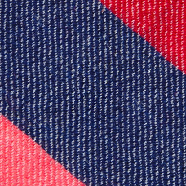 Triple Stripe Pure Cashmere Bespoke Tie - Cherry / Navy / Salmon