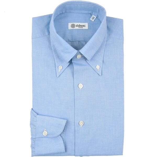 Cotton / Cashmere Twill Button Down Shirt - Light Blue - Regular Fit