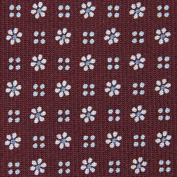 Floral Printed Bespoke Silk Tie - Burgundy III
