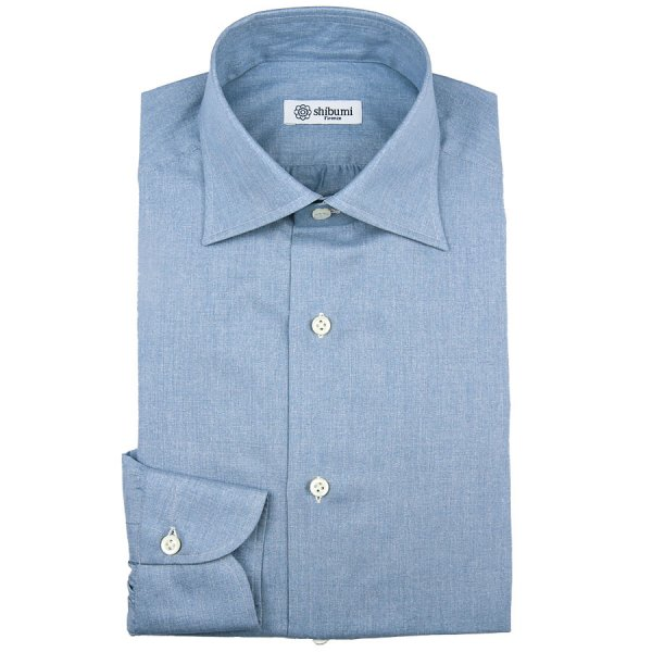Carlo Riva Soft Denim Twill Shirt - Light Blue - Semi Spread
