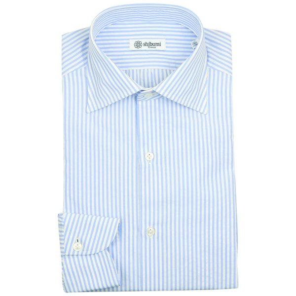 Seersucker Semi Spread Shirt - White / Light Blue - Regular Fit