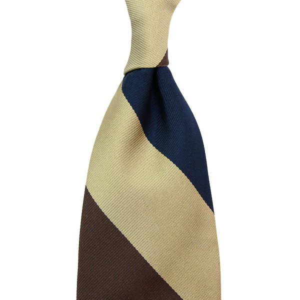 Triple Block Stripe Silk Tie - Navy / Brown / Beige - Handrolled