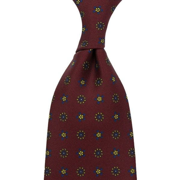 Floral Printed Silk Tie - Burgundy IX - Hand-Rolled