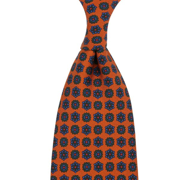 Ancient Madder Silk Tie - Terracotta V - Hand-Rolled
