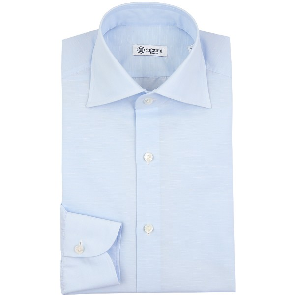 Cotton / Linen Semi Spread Shirt - Sky Blue - Regular Fit