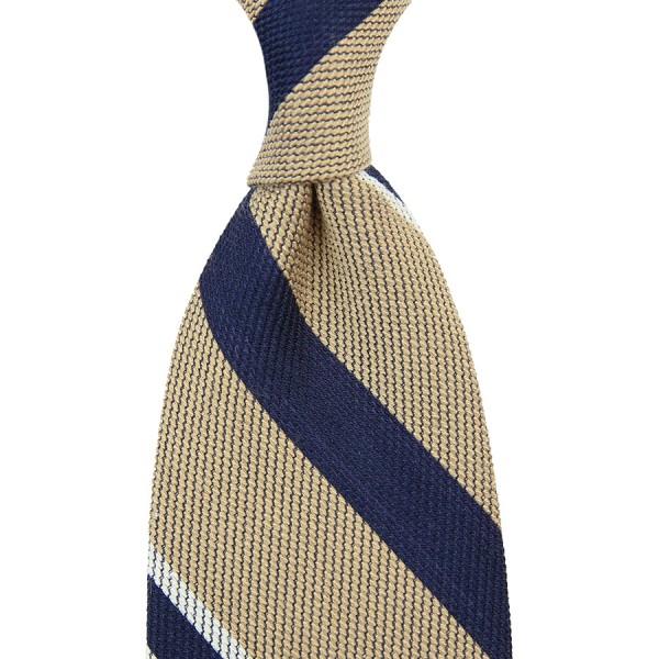 Regimental Striped Cotton / Silk Tie - Beige - Hand-Rolled