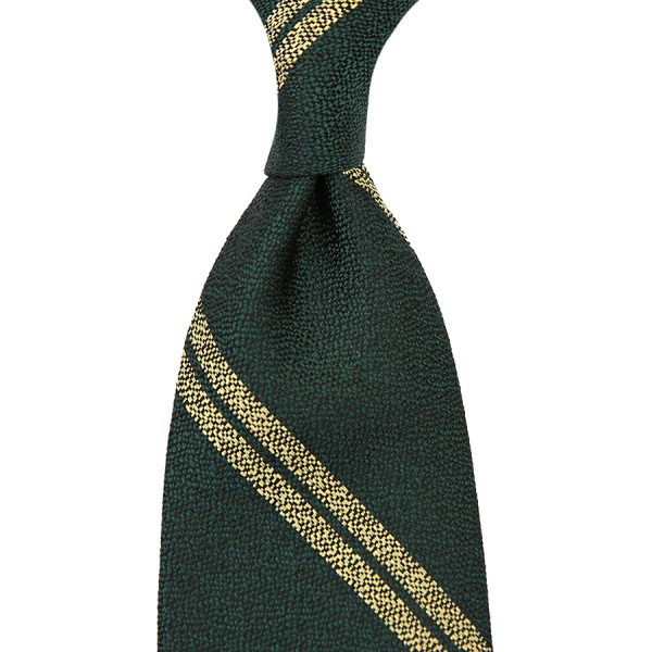 Double Bar Boucle Silk Tie - Madder Green - Hand-Rolled