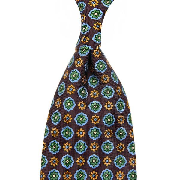 Floral Printed Silk Tie - Eggplant - Handrolled