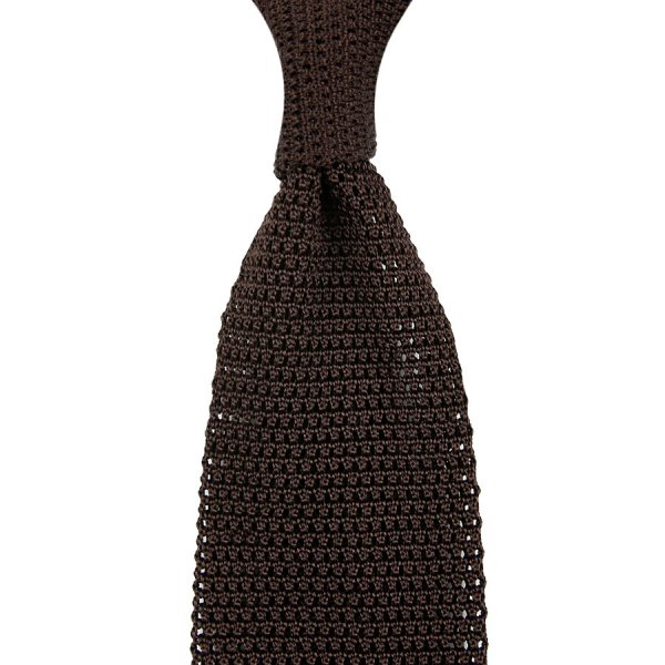 Silk Knit Tie - Brown