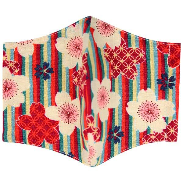 Kimono Motif Washable Cotton Mask - Red