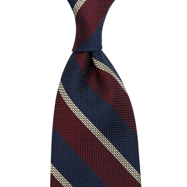 Striped Grenadine / Garza Piccola Silk Tie - Navy / Burgundy / Ivory