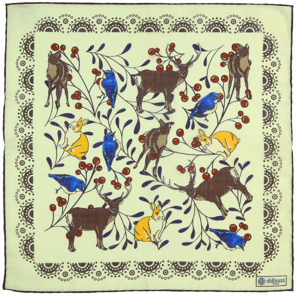 Animal II Printed Wool / Silk Pocket Square - Cream - 40x40cm