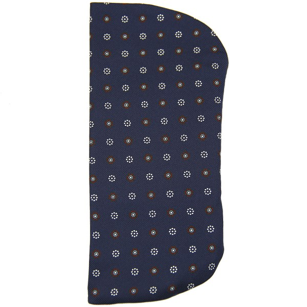 Floral Printed Silk Glasses Case - Navy