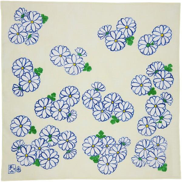 Kimono Motif Cotton Handkerchief - Ivory