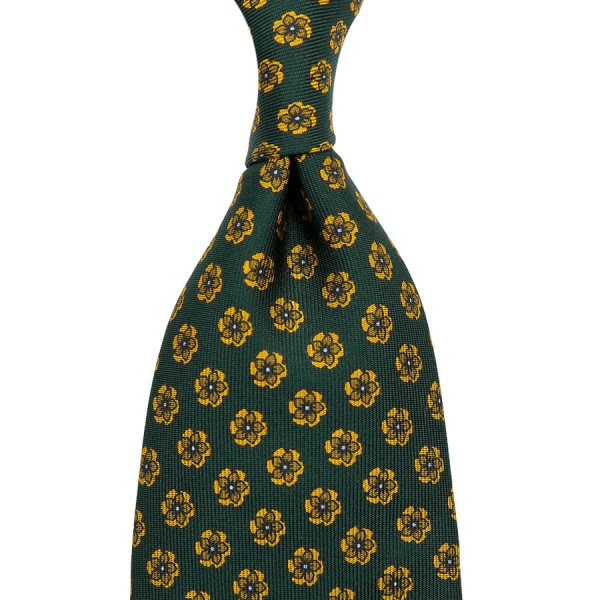 Floral Printed Silk Tie - Forest Green II - Hand-Rolled