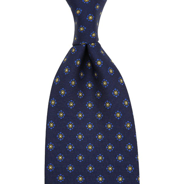 Shibumi-Flower Printed Silk Tie - Navy - Handrolled
