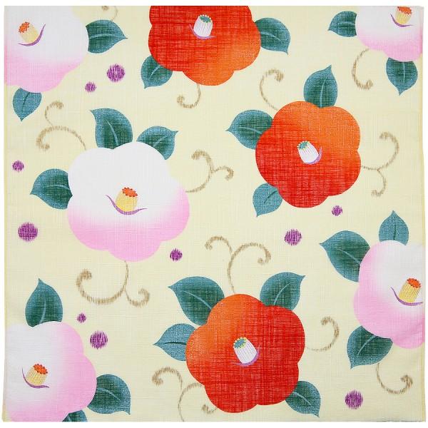 Kimono Motif Cotton Handkerchief - Pale Yellow
