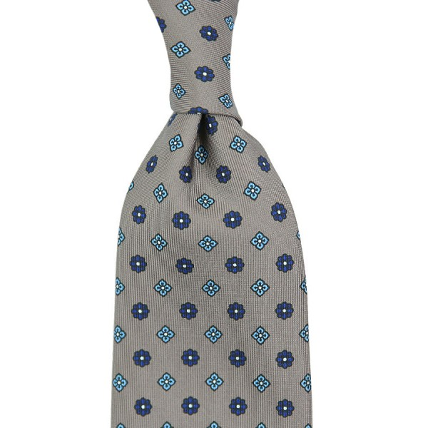 Floral Printed Silk Tie - Grey - Handrolled