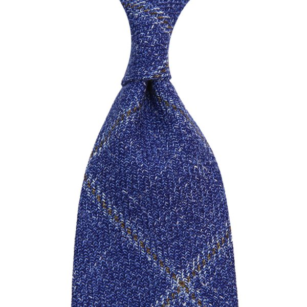 Loro Piana Checked Wool / Silk / Linen Tie - Blue II - Handrolled